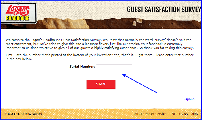 Logan's Roadhouse Survey form