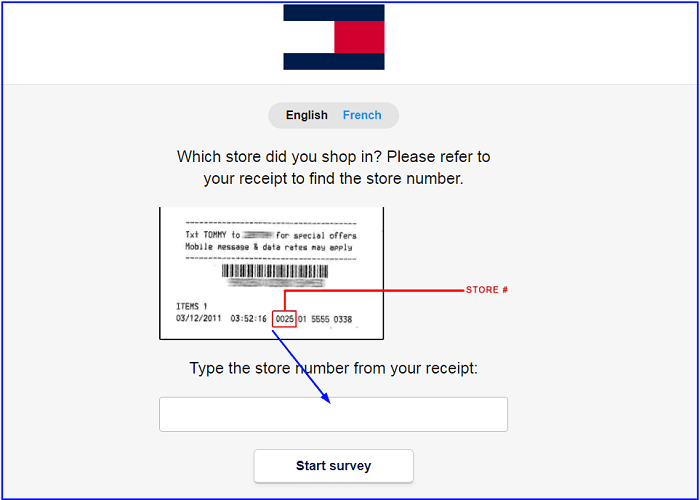 Tommy Hilfiger Survey form