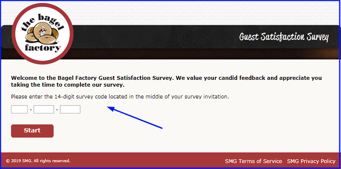 Bagel Factory Guest Satisfaction Survey form