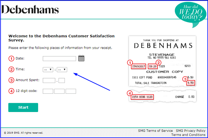 Debenhams Survey form