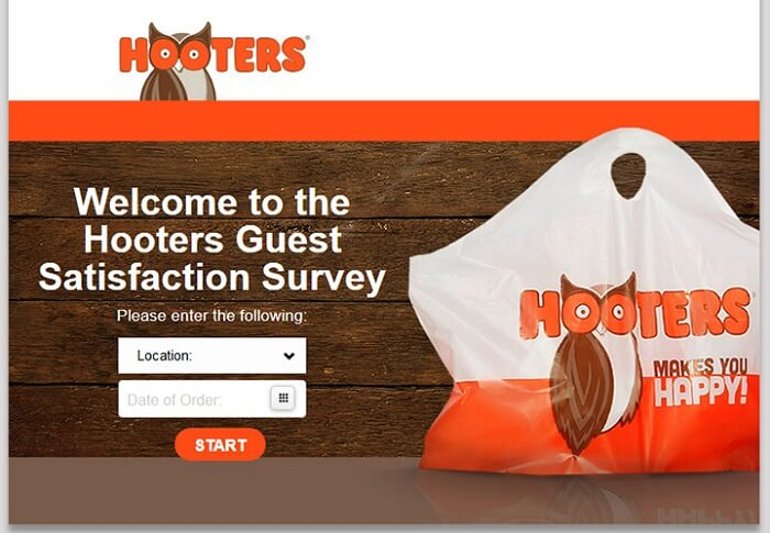 Hooters Guest Satisfaction Survey form
