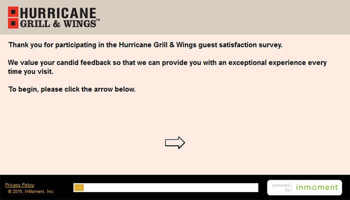 Hurricane Grill & Wings Survey form