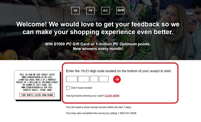 Loblaw Grocery Survey form