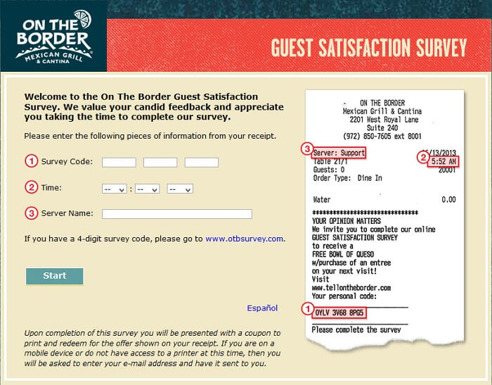 OTB Guest Experience Survey form
