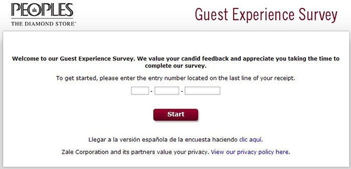 Peoples Jewellers Guest Experience Survey form