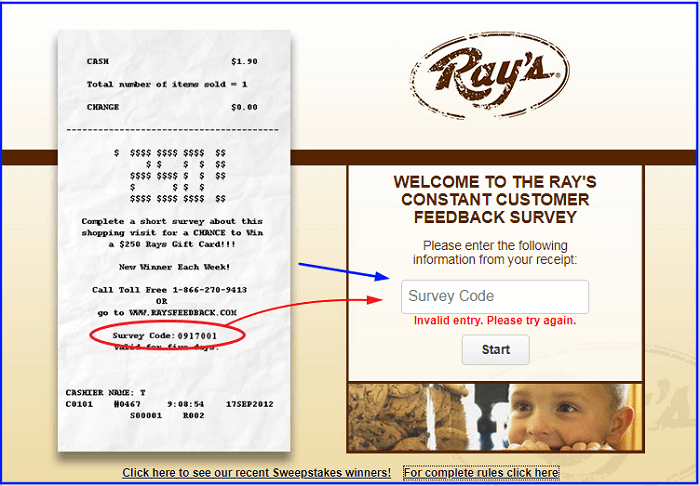 Ray's Constant Customer Feedback Survey form