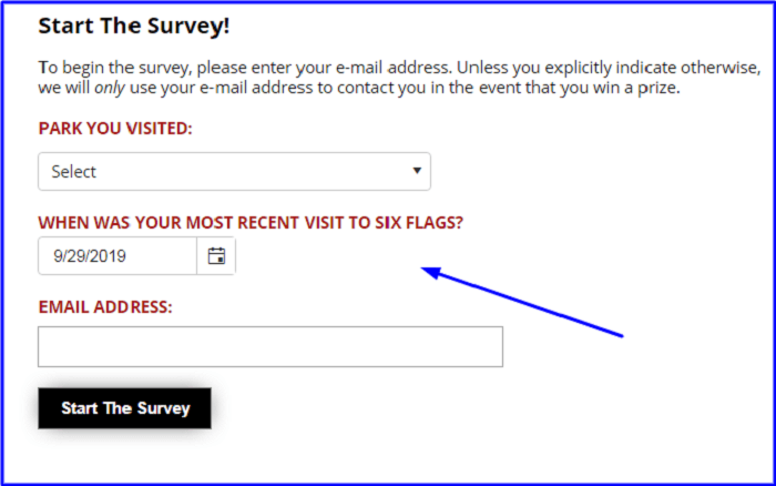Six Flags Customer Feedback Survey form