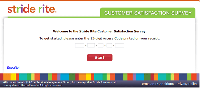 Stride Rite Survey form