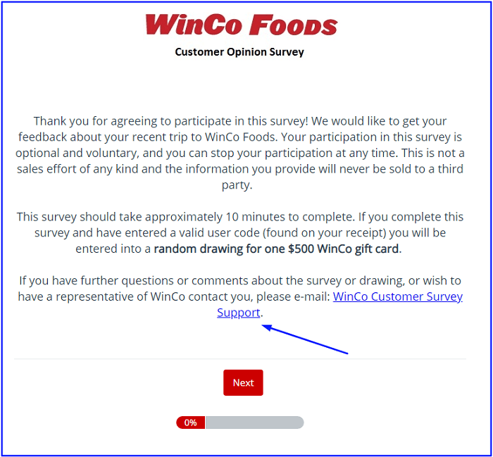 WinCo Foods Survey form