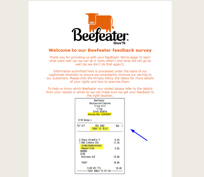 Beefeater Grill Feedback Survey form
