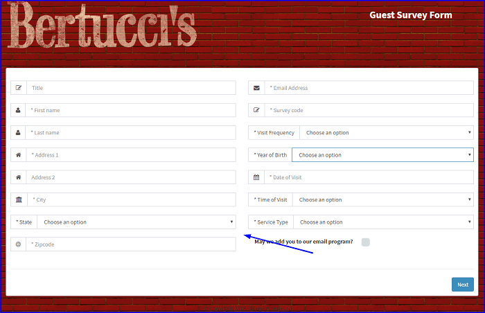 Bertucci's Guest Satisfaction Survey form