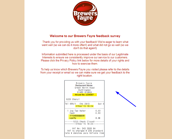 Brewers Fayre Feedback Survey form