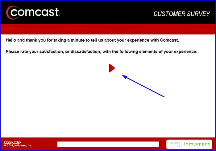 Comcast Survey fom