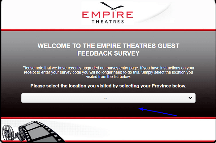 Empire Theatres Guest Feedback Survey form