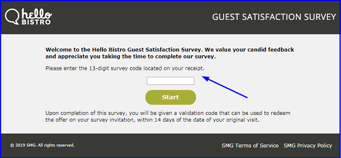 Hello Bistro Guest Satisfaction Survey form