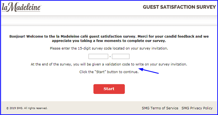 La Madeleine Guest Survey form