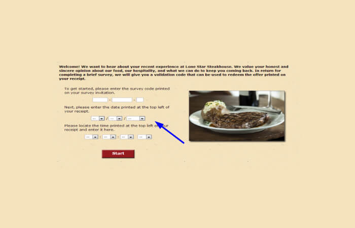 Lone Star Steakhouse Guest Experience survey form