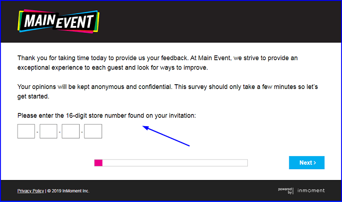 Main Event Customer Feedback Survey form