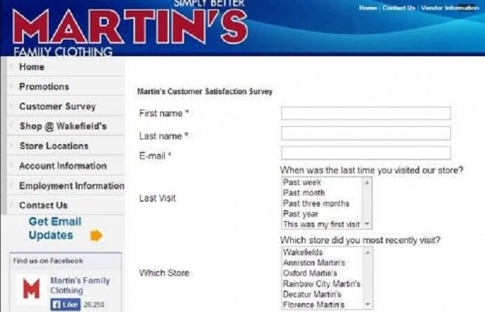 Martin's Family Clothing Survey form