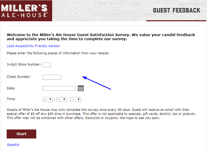 Miller's Ale House Guest Feedback Survey form