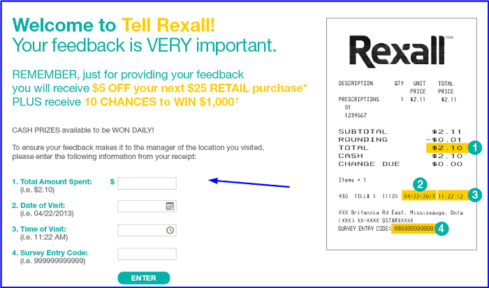 Rexall Survey form