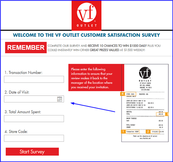 VF Outlet Customer Satisfaction Survey form
