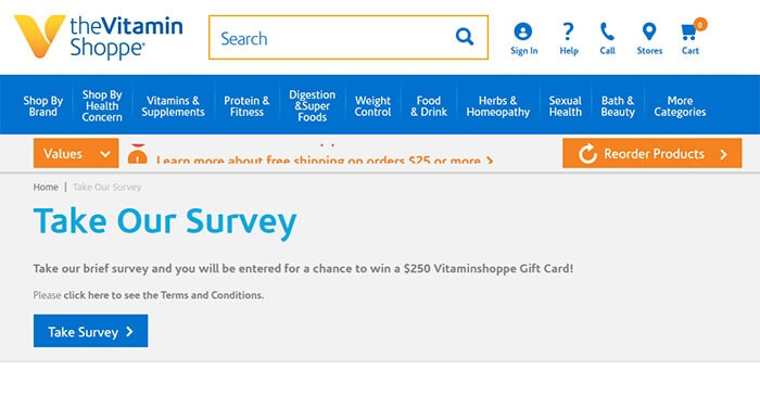 Vitamin Shoppe Customer Satisfaction Survey form