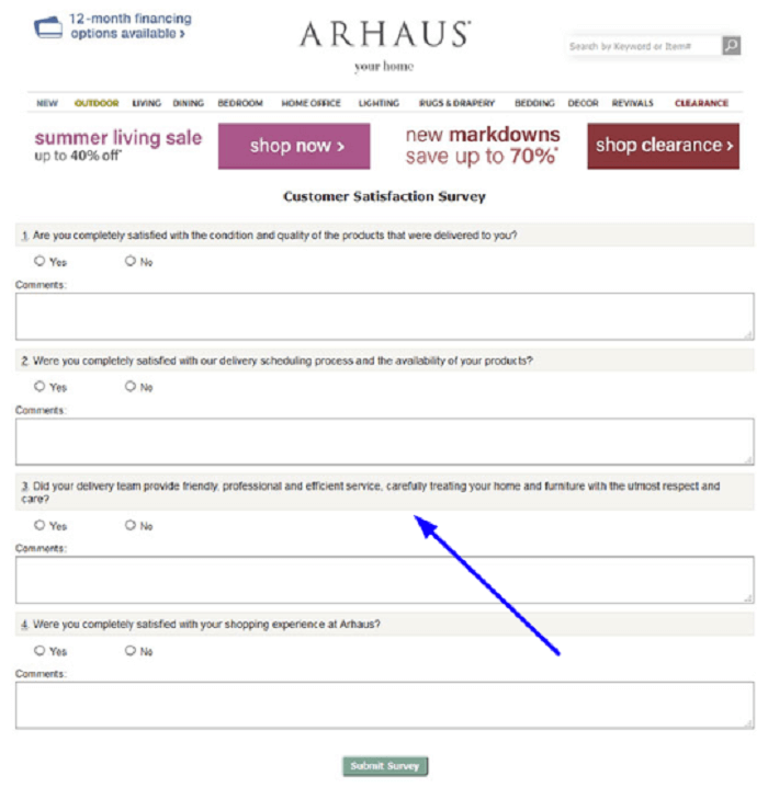 Arhaus Customer Satisfaction Survey form