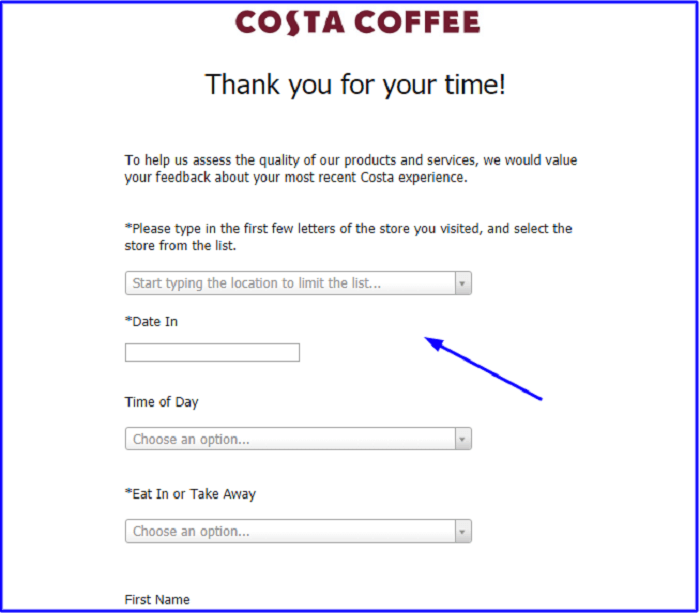Costa Coffee Feedback Survey form