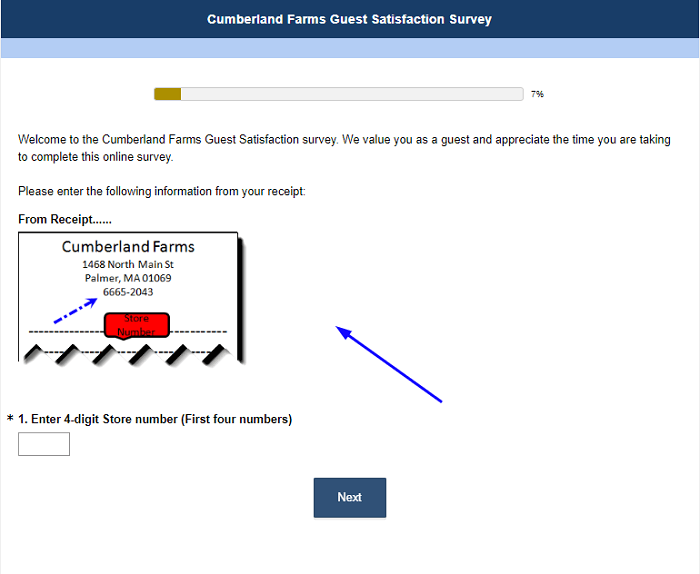 Cumberland Farms Guest Satisfaction Survey form