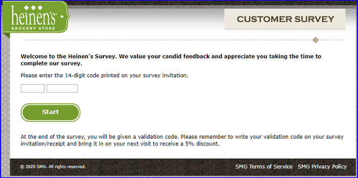 Heinen's Customer Survey form