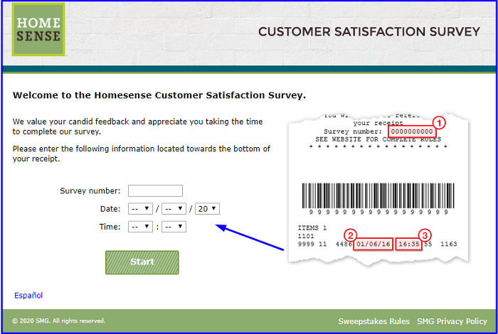 HomeSense Customer Satisfaction Survey form