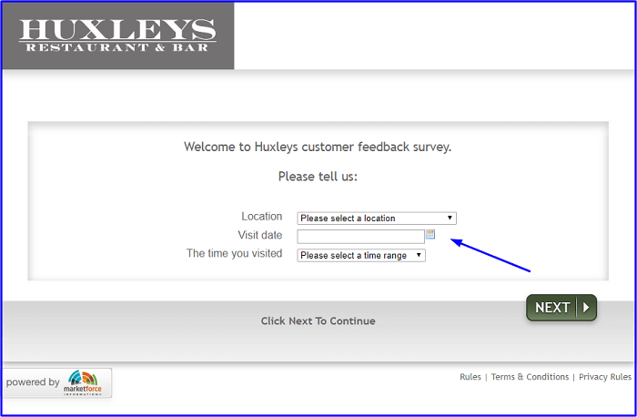 Huxleys Customer Survey form