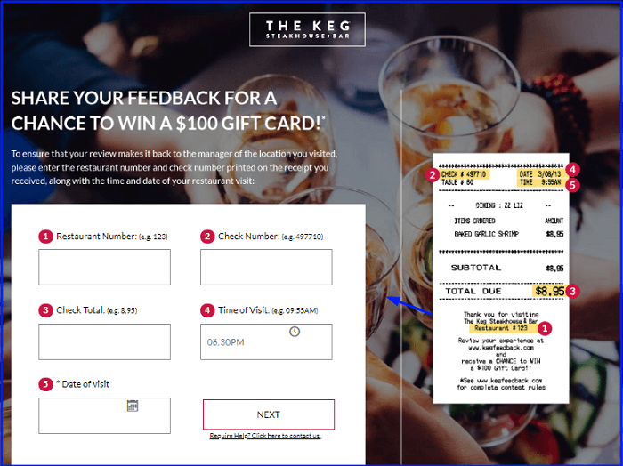 Keg Restaurants Feedback Survey form
