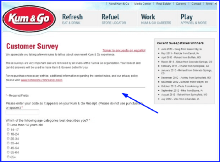 Kum & Go Customer Survey form
