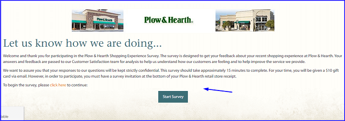 Plow and Hearth Retail Shopping Experience Survey form