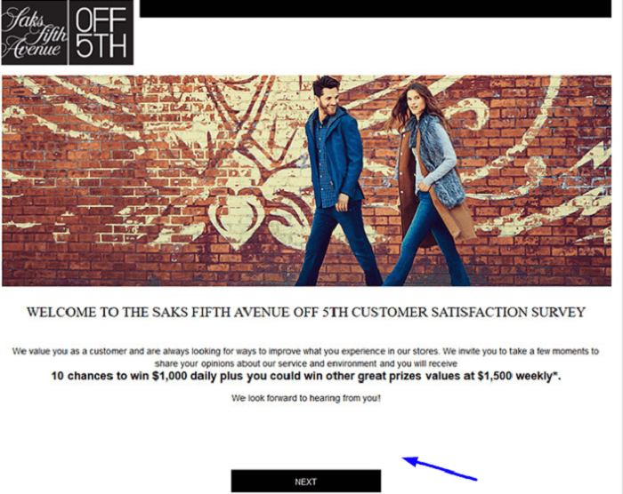 Saks Off 5th Customer Satisfaction Survey form