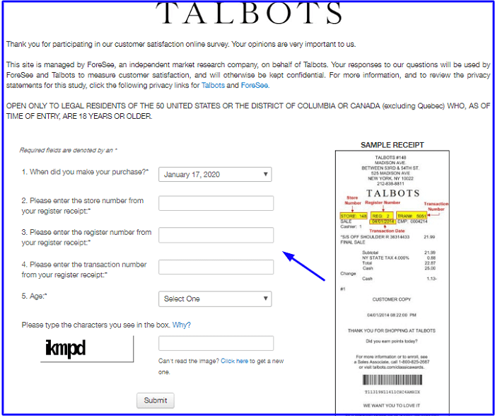 Talbots Customer Satisfaction Survey form