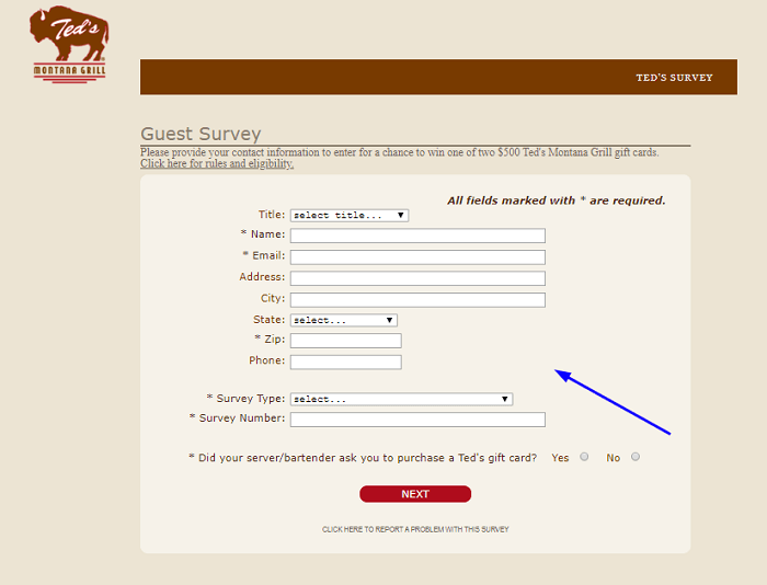 Ted's Montana Customer Satisfaction Survey form