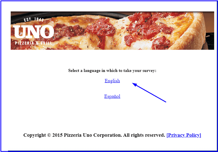 Uno Pizzeria & Grill Customer Satisfaction Survey form