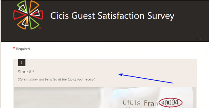 CiCi's Pizza Customer Satisfaction Survey form